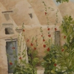 Beehive houses and hollyhocks